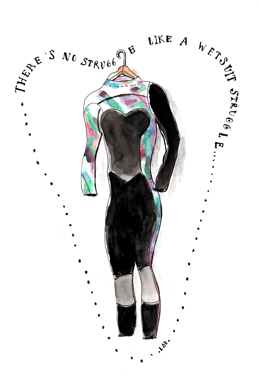 There's no struggle like a wetsuit struggle
